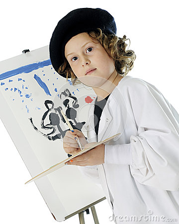 Serious Young Artist with Her Work