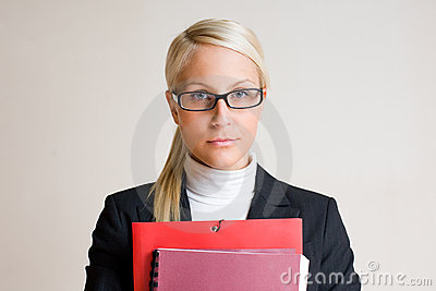 Serious young business woman.