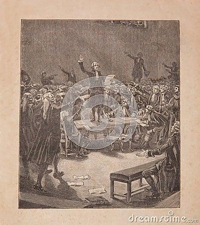 Serment du jeu de paume, 19th century old engravin Editorial Stock Photo