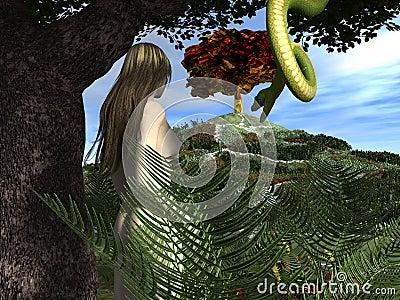 Serpent tempts Eve in the Garden of Eden