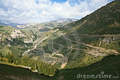 Serpentine highway in Tian Shan mountains