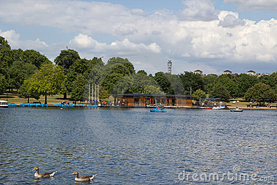 Serpentine lake river in Hyde Park, London, UK Editorial Image
