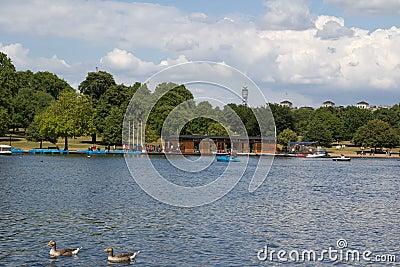 Serpentine lake river in Hyde Park, London, UK Editorial Image