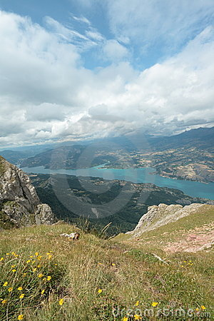 Serre-Ponçon lake in Alps