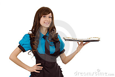Servant girl with empty tray