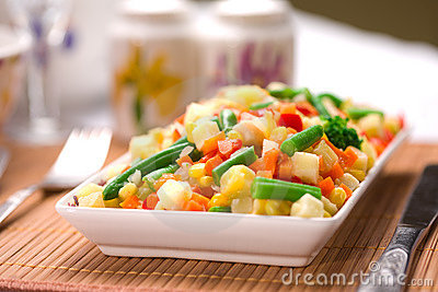Served chopped vegetables mixture