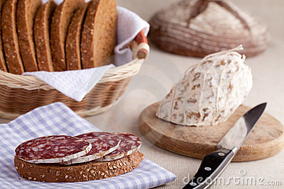 Served kitchen table, sandwich, salami, bread