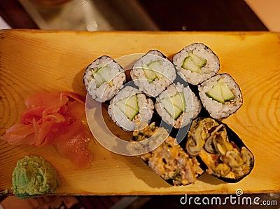 Served maki rolls