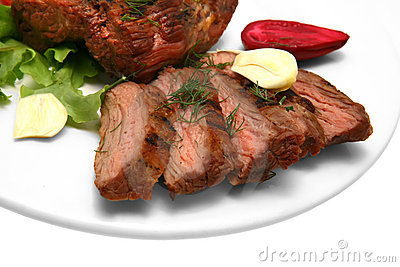 Served roasted beef on color dish