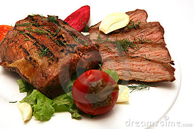 Served roasted meat steak