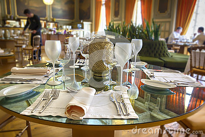 Served table in luxury restaurant
