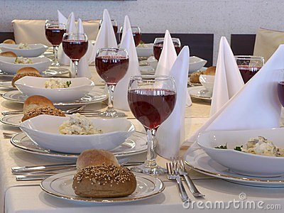 Served table with red wine at restaurant