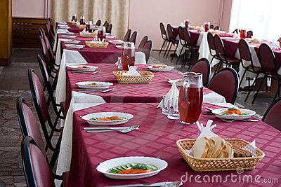 Served tables in restaurant