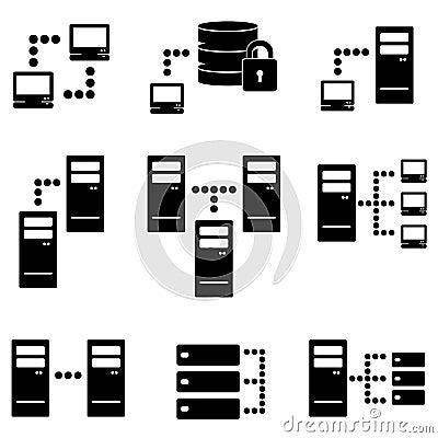 Server, big data icon set