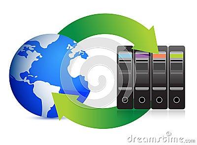 Serveurs et globe d â de concept de réseau