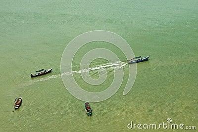 Service boats to island