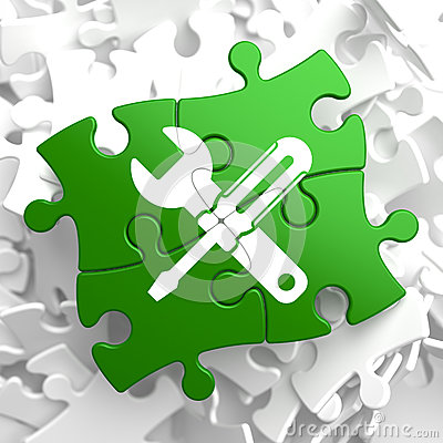 Free Service Concept On Green Puzzle Pieces. Royalty Free Stock Photography - 34434957