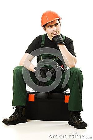 Service man wearing in helmet