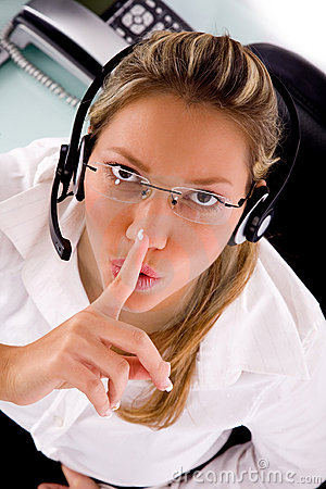 Service provider instructing to be silent