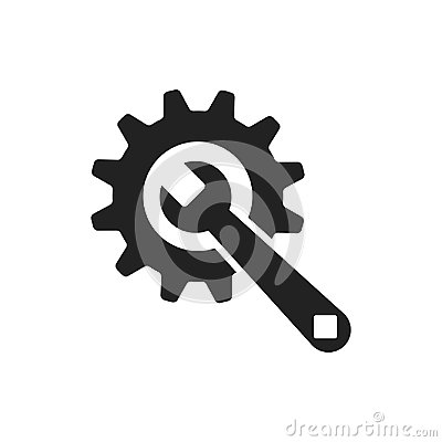 Free Service Tools Flat Vector Icon. Cogwheel With Wrench Symbol Logo Stock Images - 95821124