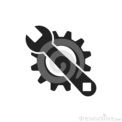 Free Service Tools Flat Vector Icon. Cogwheel With Wrench Symbol Logo Royalty Free Stock Image - 95903006
