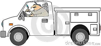 Serviceman In Truck