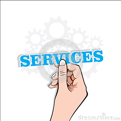 Services text with hand