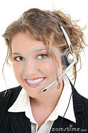 Servicio de atención al cliente sonriente hermoso o representante de ventas