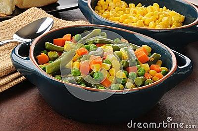 Serving bowls of vegetables