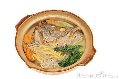Serving On Claypot Fish Head Noodle