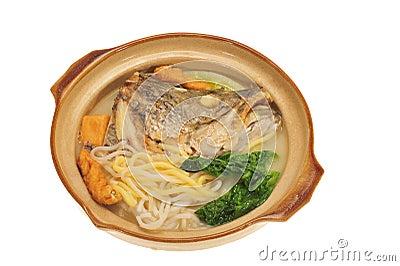 Serving On Claypot Fish Head Noodle