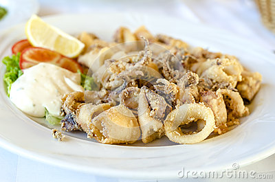 Serving of cooked calamari