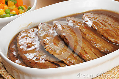 Serving dish of salisbury steak