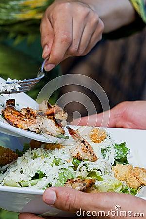 Serving a salad