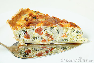 Serving spinach quiche horizontal