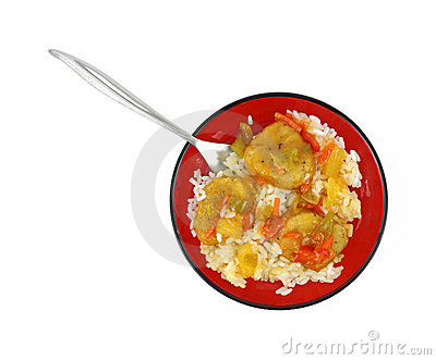 Serving of sweet and sour chicken