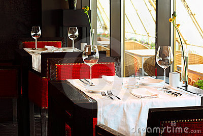 Tables And Chairs For A Restaurant : Serving At Tables And Chairs In Restaurant Royalty Free Stock Images ...