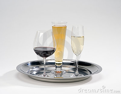 Serving tray w/drinks