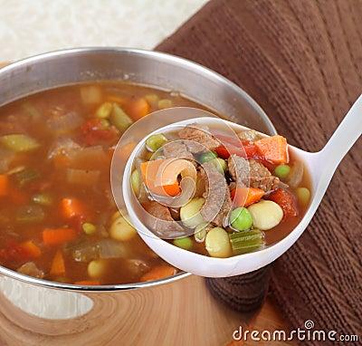 Serving Vegetable Soup