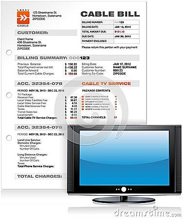 Serviço Bill da televisão por cabo com a tevê lisa do diodo emissor de luz LCD do plasma