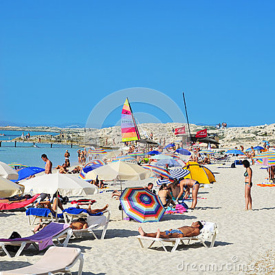 Ses Illetes Beach in Formentera, Balearic Islands Editorial Photography