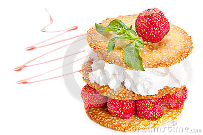Sesame pastry with  strawberries