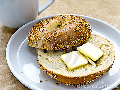 Sesame Seed Bagel with Butter