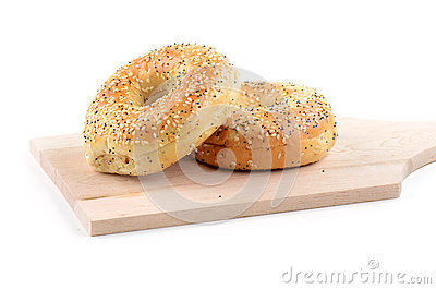 Sesame seed and poppy seed bagel