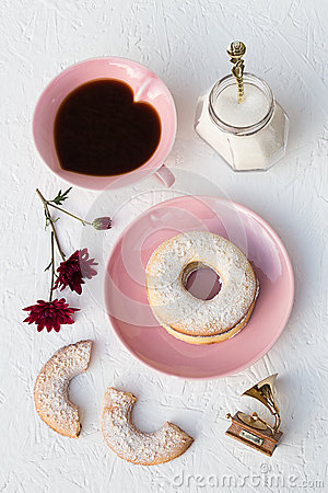 Free Sesame Seeds Butter Cookies And Coffee Royalty Free Stock Image - 46307336