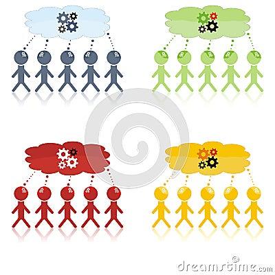 Session de séance de réflexion avec cinq personnes