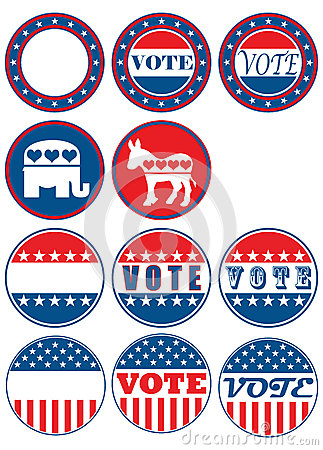 Set of 11 election campaign badges Editorial Photo