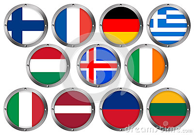 Set of 11 Flags in Round Metal Frame-Europe 2