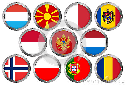 Set of 11 Flags in Round Metal Frame-Europe 3