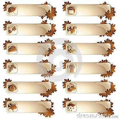 Set of 12 autumnal labels